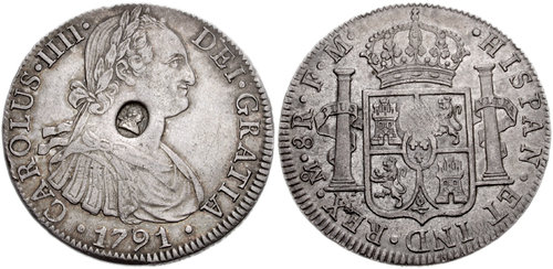 HANOVER. George III. 1760-1820. AR Dollar. Oval countermark of George III on a 1789 FM Mexico City 8 Reales of Charles IV of Spain