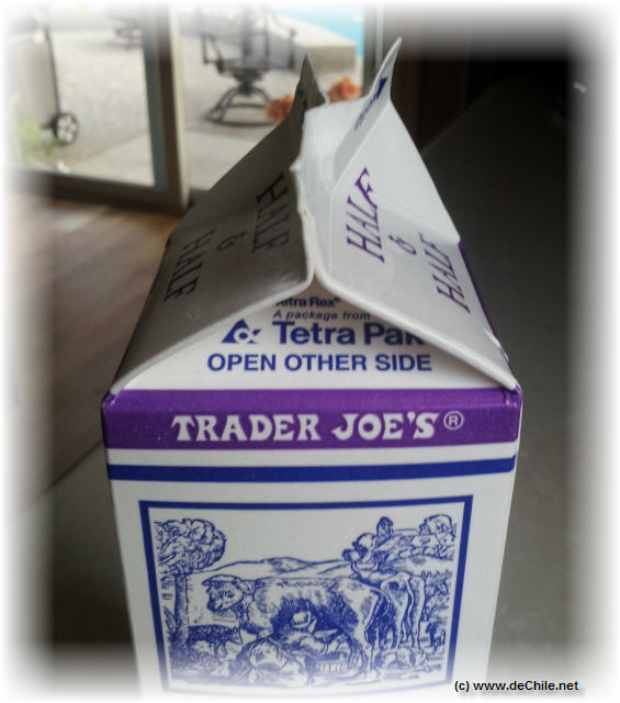 Carton de half and half de Trader Joe